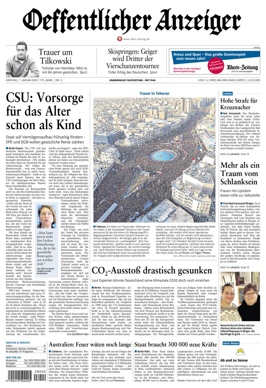 Oeffentlicher Anzeiger Kirn vom Dienstag, 07.01.2020