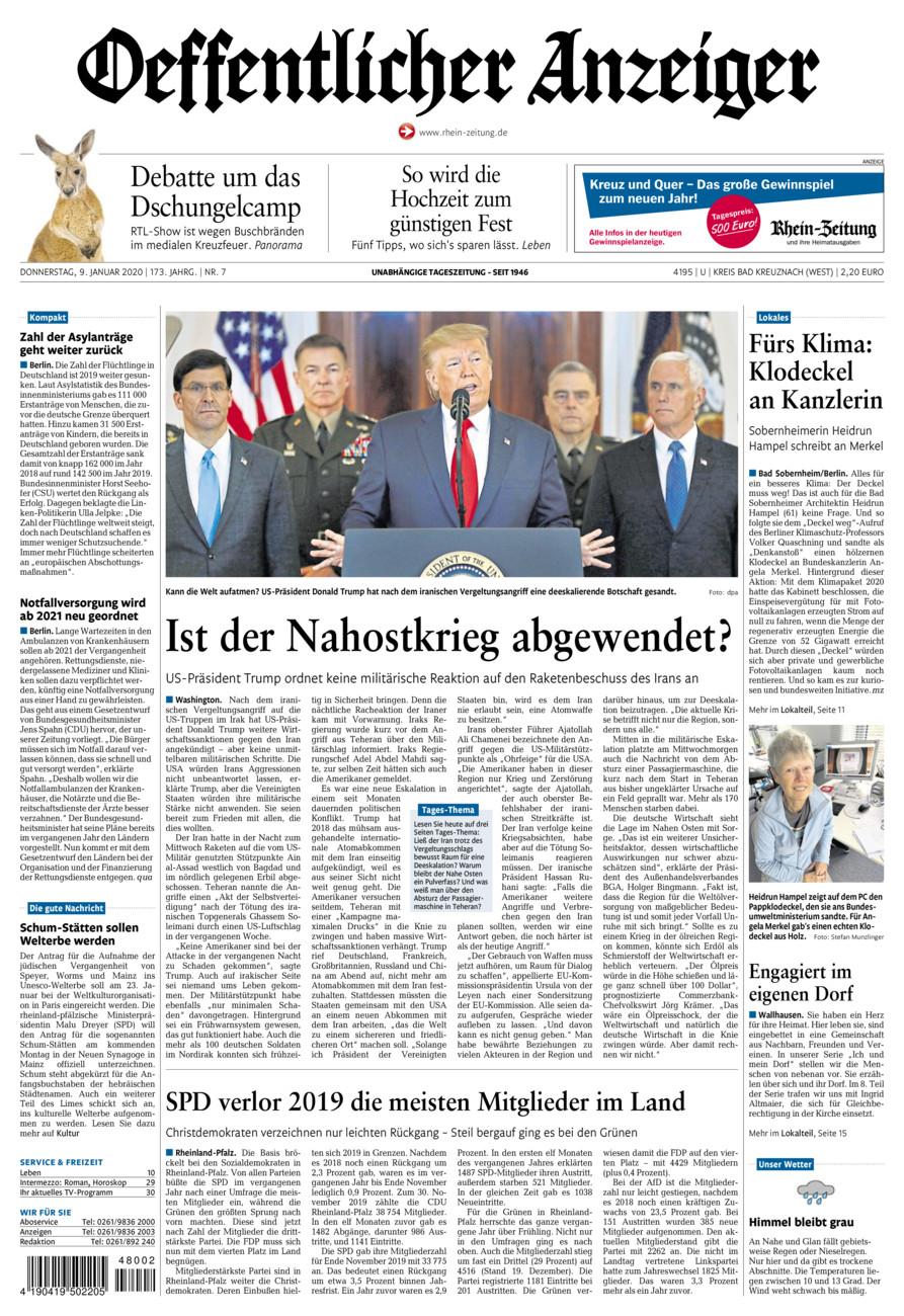 Oeffentlicher Anzeiger Kirn vom Donnerstag, 09.01.2020