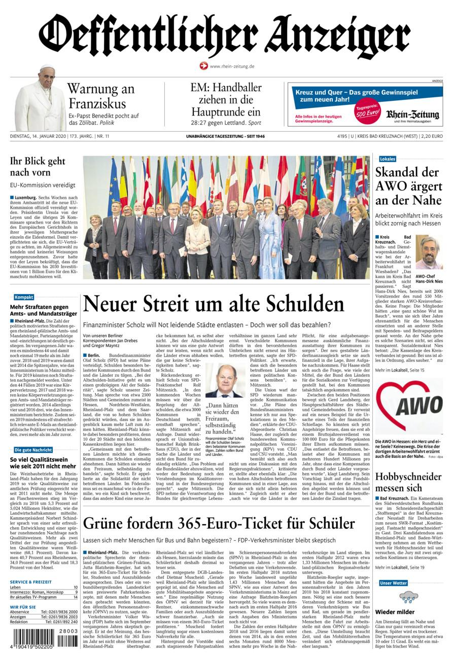 Oeffentlicher Anzeiger Kirn vom Dienstag, 14.01.2020