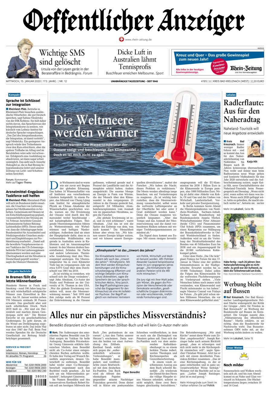 Oeffentlicher Anzeiger Kirn vom Mittwoch, 15.01.2020
