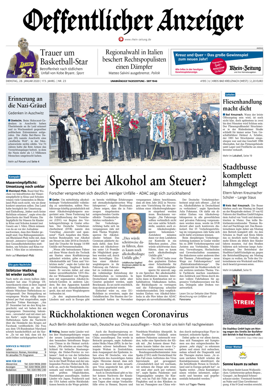 Oeffentlicher Anzeiger Kirn vom Dienstag, 28.01.2020