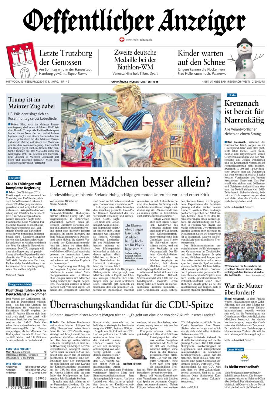 Oeffentlicher Anzeiger Kirn vom Mittwoch, 19.02.2020