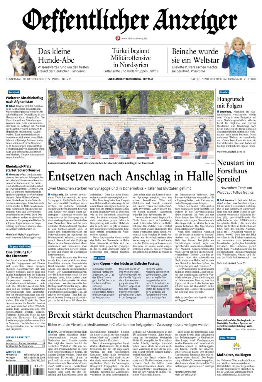 Oeffentlicher Anzeiger Bad Kreuznach vom Donnerstag, 10.10.2019