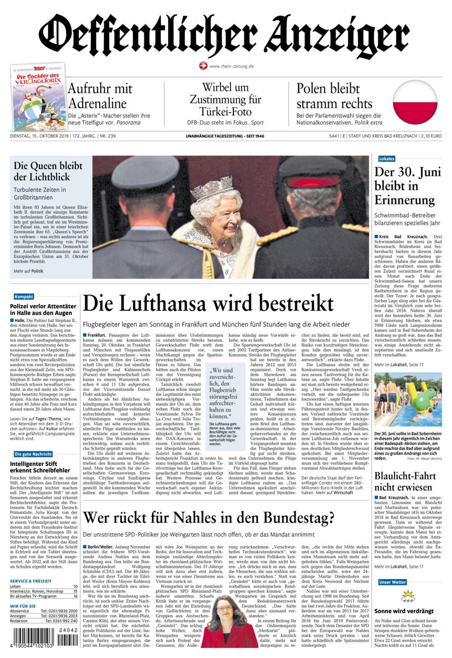 Oeffentlicher Anzeiger Bad Kreuznach vom Dienstag, 15.10.2019