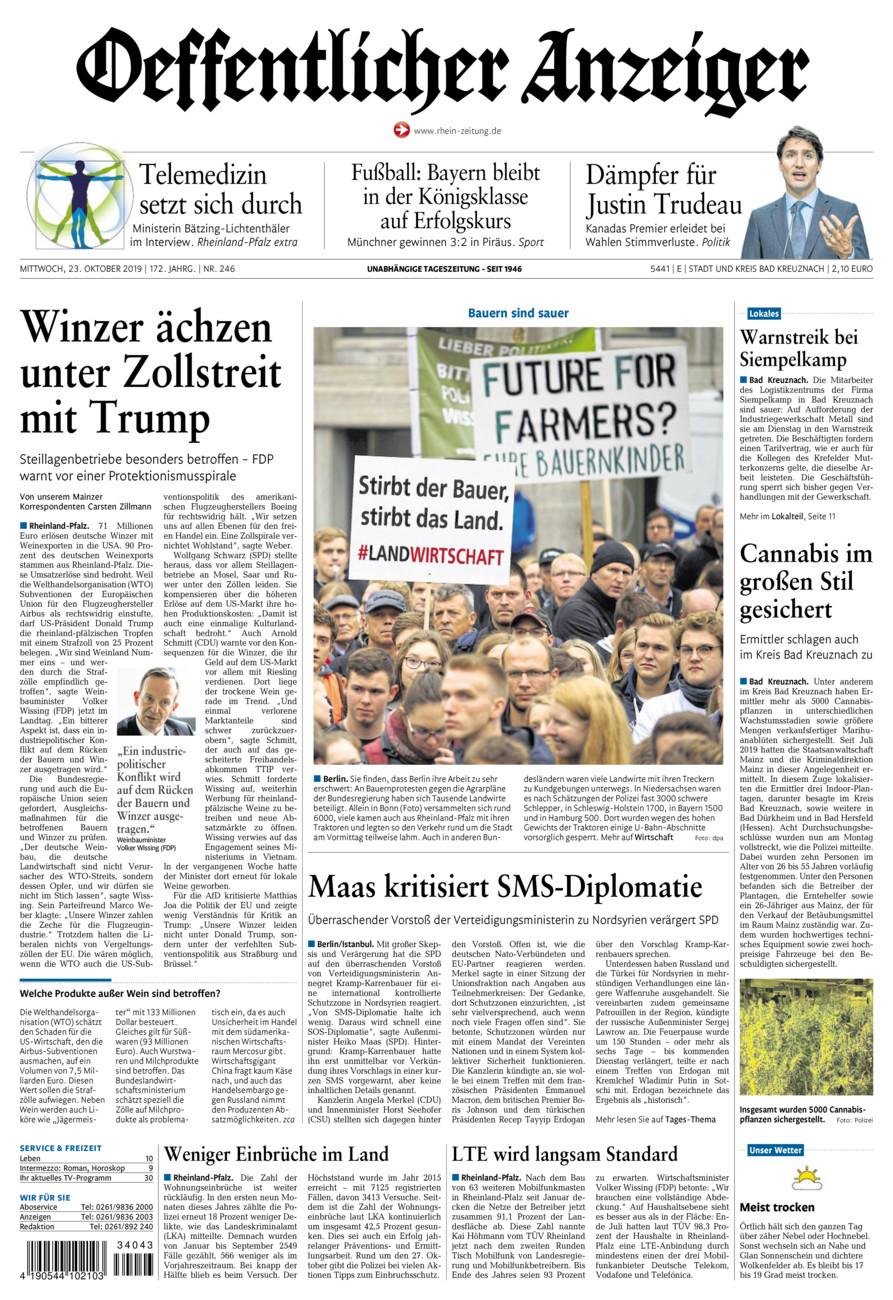 Oeffentlicher Anzeiger Bad Kreuznach vom Mittwoch, 23.10.2019