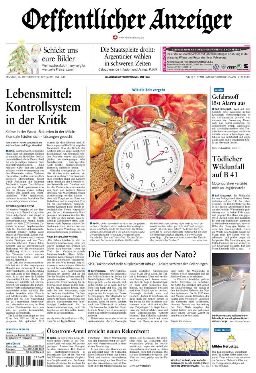 Oeffentlicher Anzeiger Bad Kreuznach vom Samstag, 26.10.2019