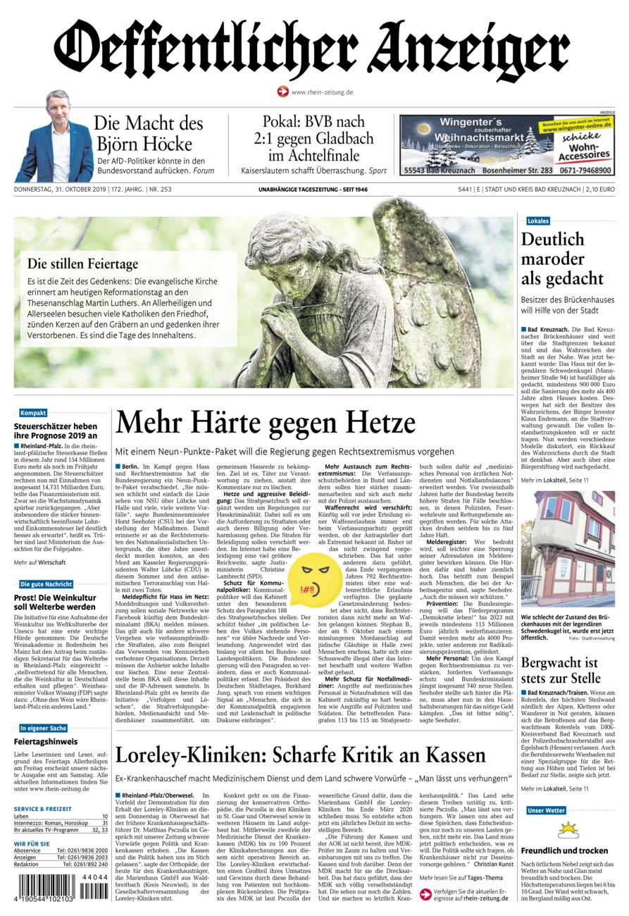Oeffentlicher Anzeiger Bad Kreuznach vom Donnerstag, 31.10.2019
