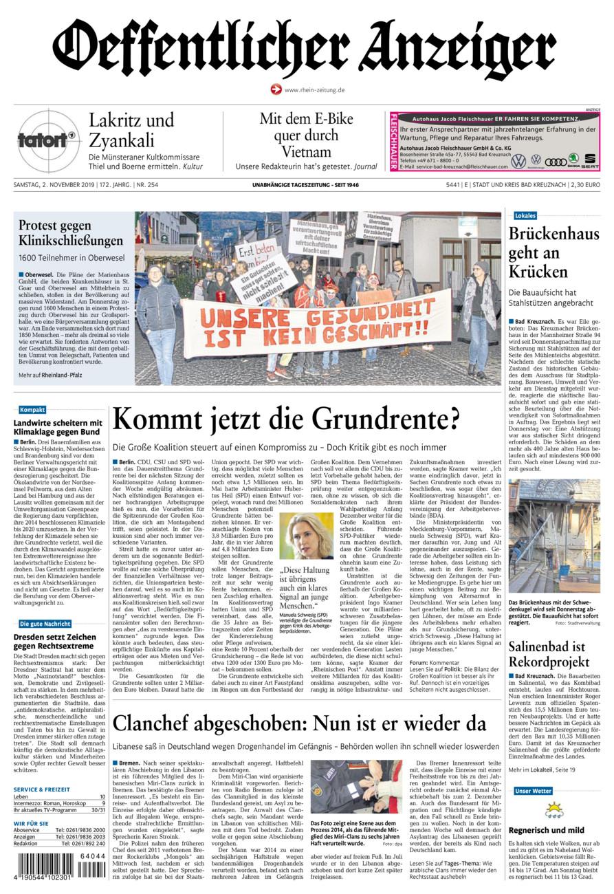 Oeffentlicher Anzeiger Bad Kreuznach vom Samstag, 02.11.2019