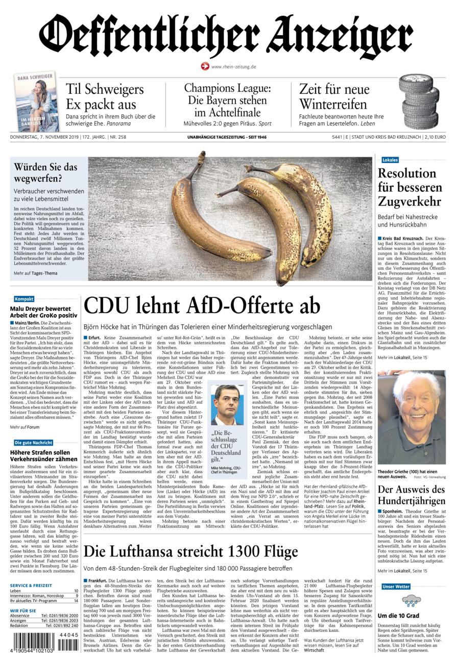 Oeffentlicher Anzeiger Bad Kreuznach vom Donnerstag, 07.11.2019