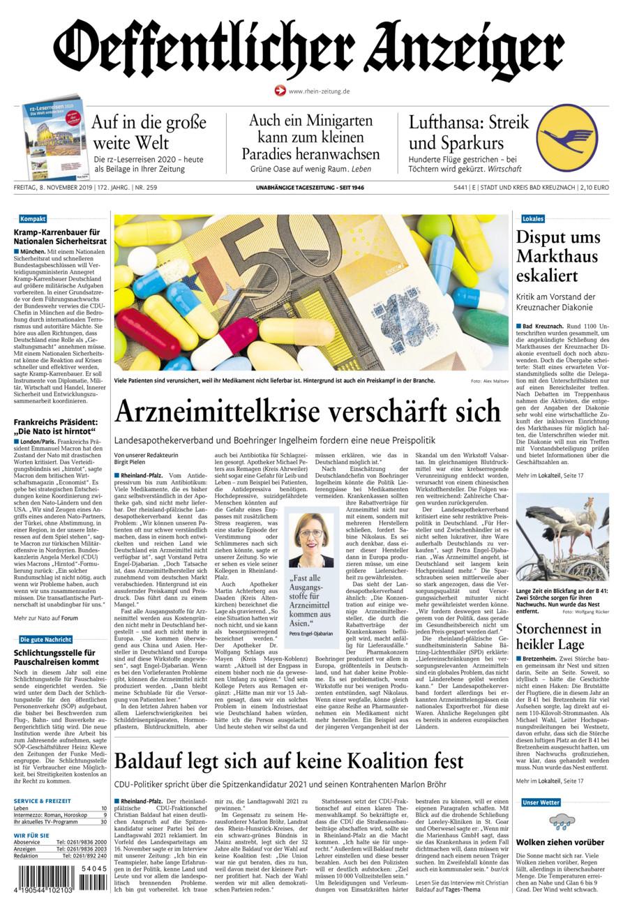 Oeffentlicher Anzeiger Bad Kreuznach vom Freitag, 08.11.2019