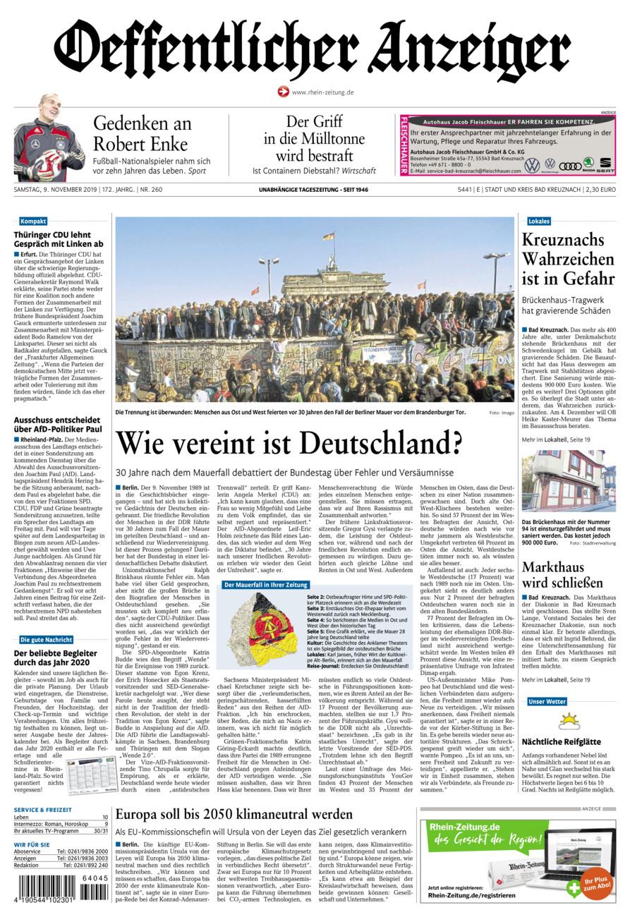 Oeffentlicher Anzeiger Bad Kreuznach vom Samstag, 09.11.2019
