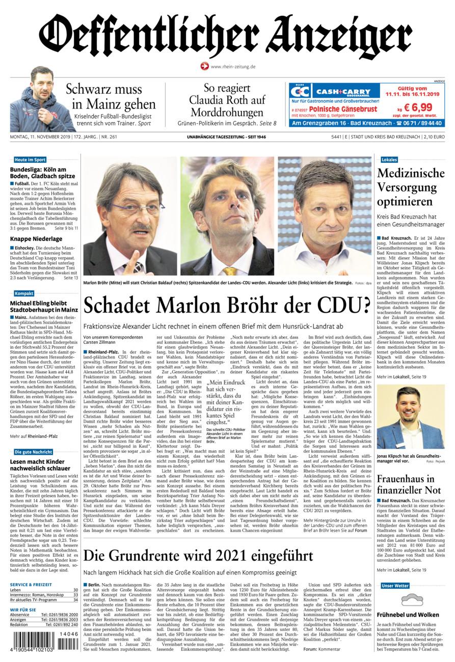 Oeffentlicher Anzeiger Bad Kreuznach vom Montag, 11.11.2019