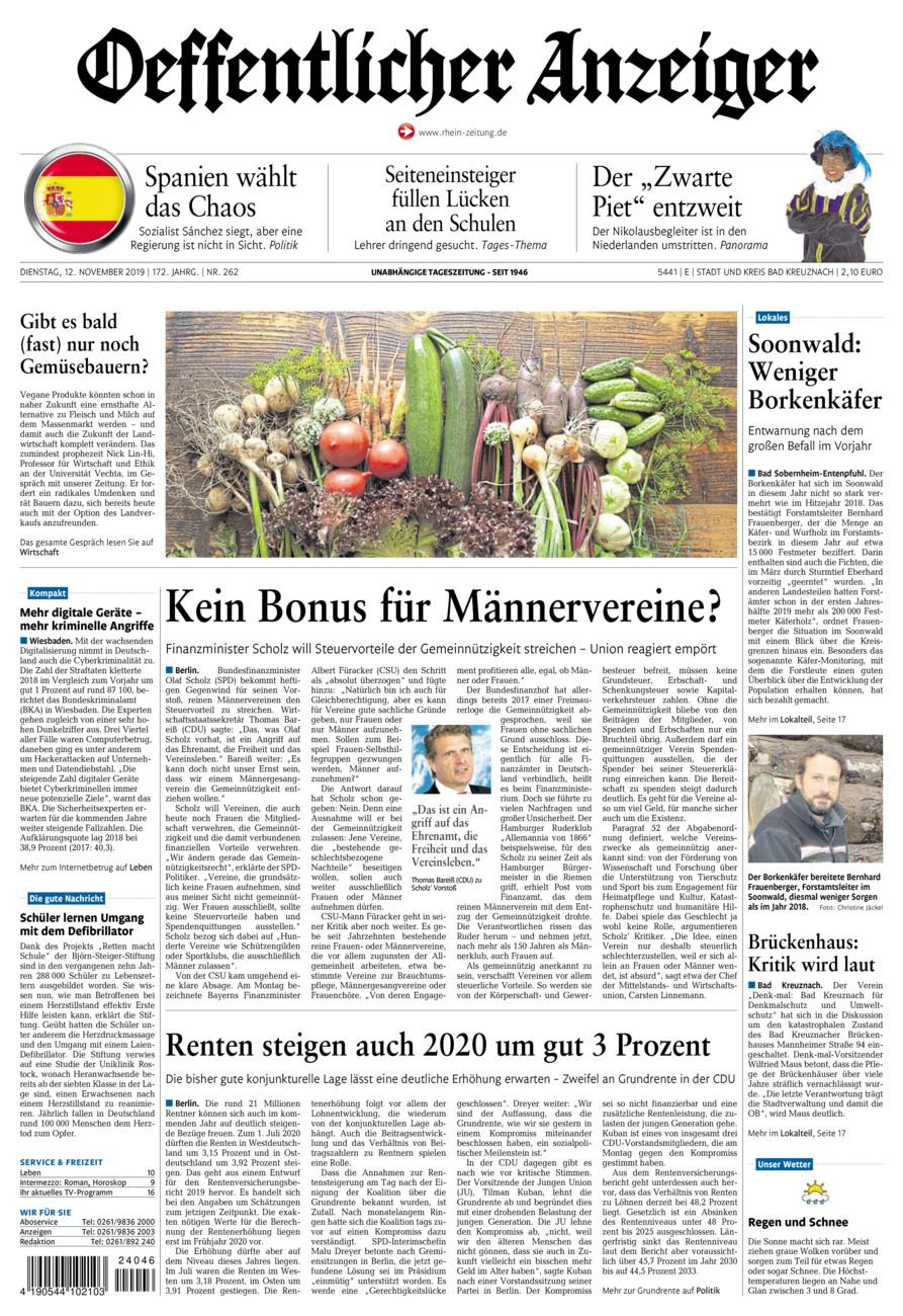 Oeffentlicher Anzeiger Bad Kreuznach vom Dienstag, 12.11.2019
