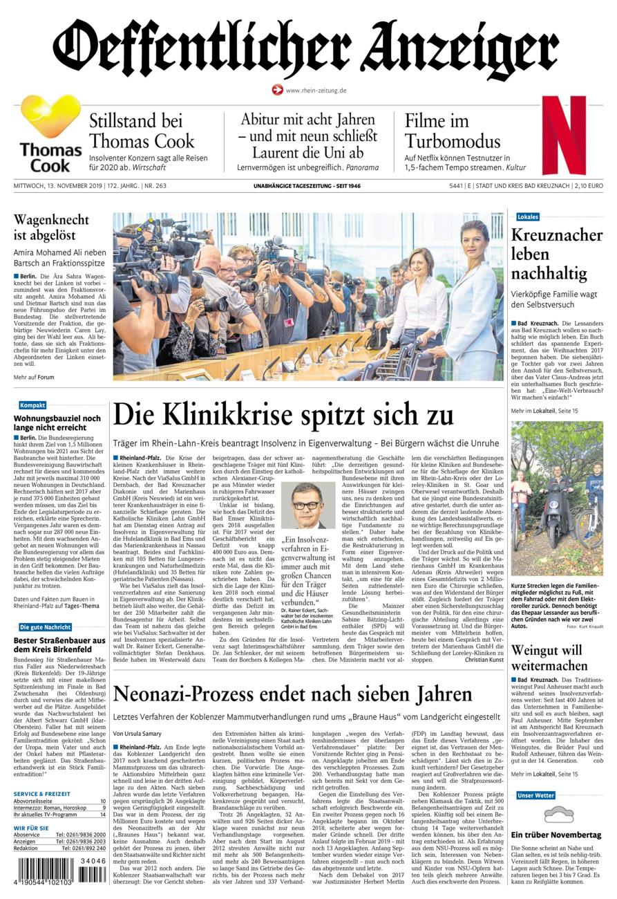 Oeffentlicher Anzeiger Bad Kreuznach vom Mittwoch, 13.11.2019