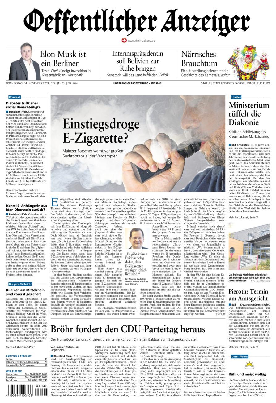 Oeffentlicher Anzeiger Bad Kreuznach vom Donnerstag, 14.11.2019