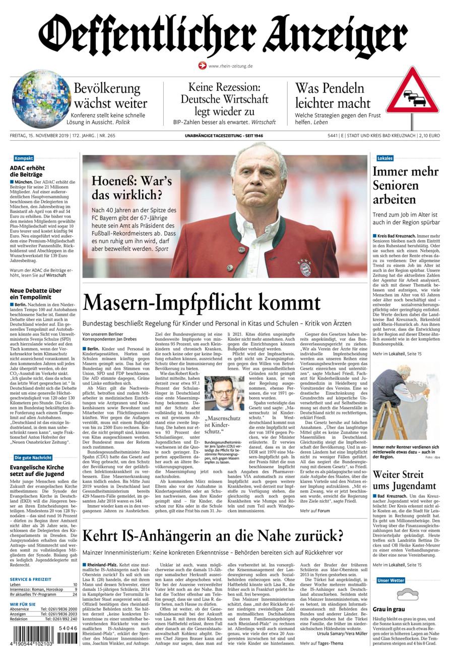 Oeffentlicher Anzeiger Bad Kreuznach vom Freitag, 15.11.2019