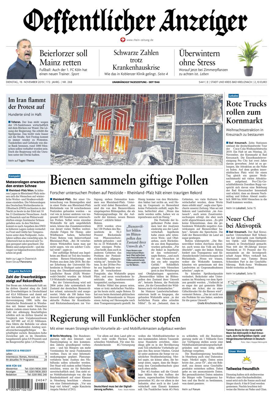 Oeffentlicher Anzeiger Bad Kreuznach vom Dienstag, 19.11.2019