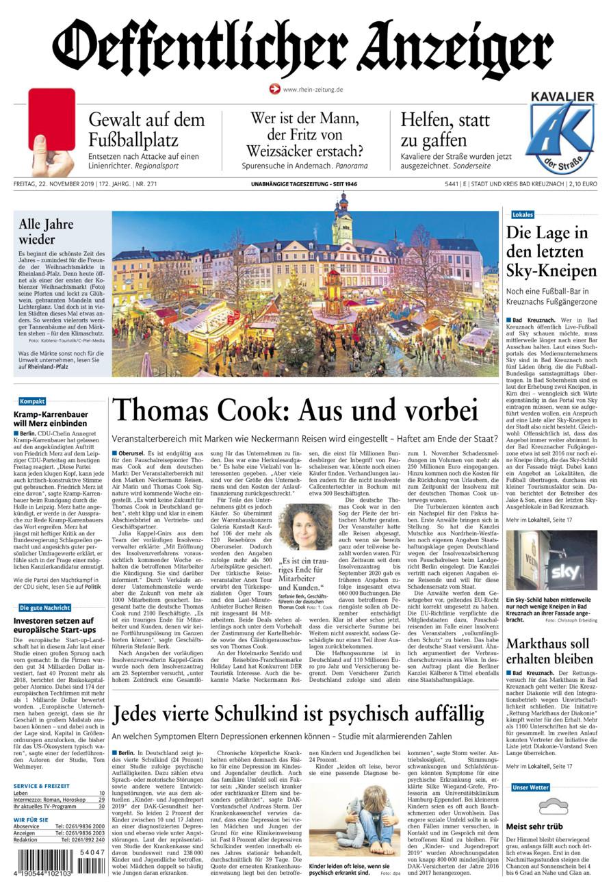 Oeffentlicher Anzeiger Bad Kreuznach vom Freitag, 22.11.2019