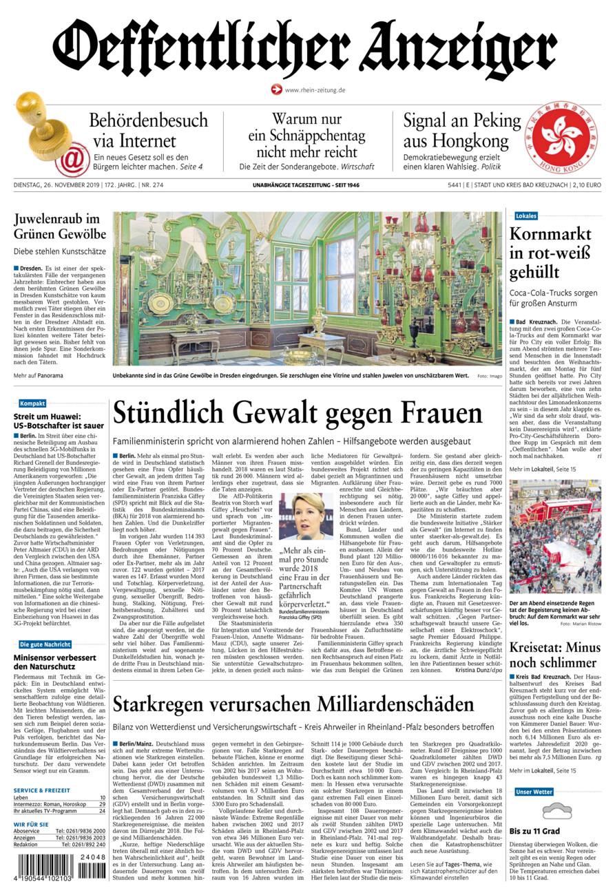 Oeffentlicher Anzeiger Bad Kreuznach vom Dienstag, 26.11.2019