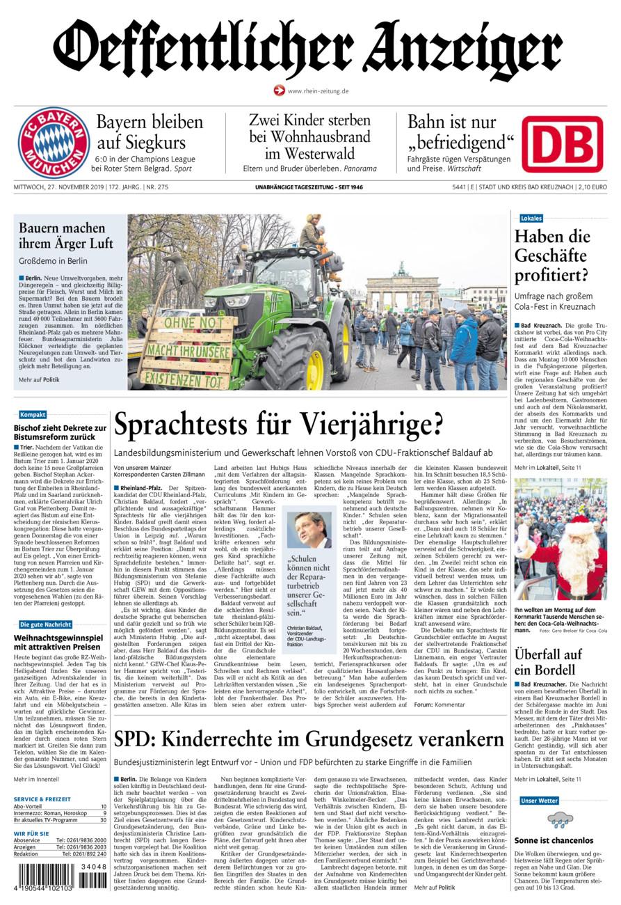 Oeffentlicher Anzeiger Bad Kreuznach vom Mittwoch, 27.11.2019