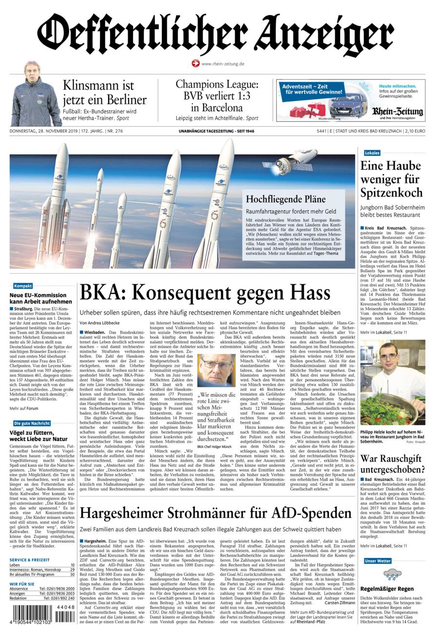 Oeffentlicher Anzeiger Bad Kreuznach vom Donnerstag, 28.11.2019