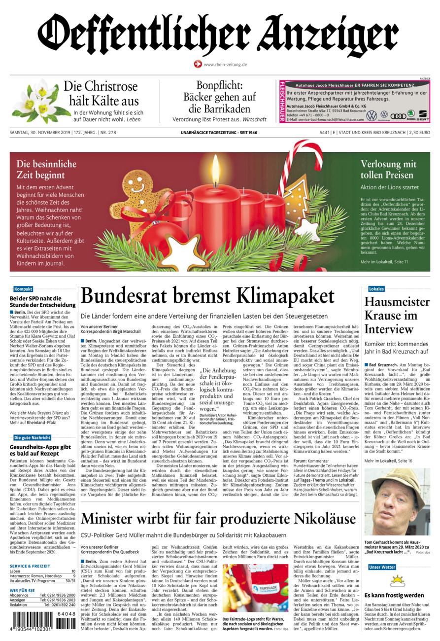 Oeffentlicher Anzeiger Bad Kreuznach vom Samstag, 30.11.2019
