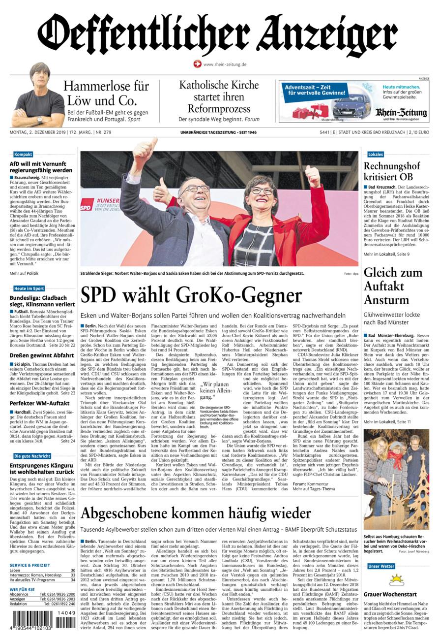 Oeffentlicher Anzeiger Bad Kreuznach vom Montag, 02.12.2019