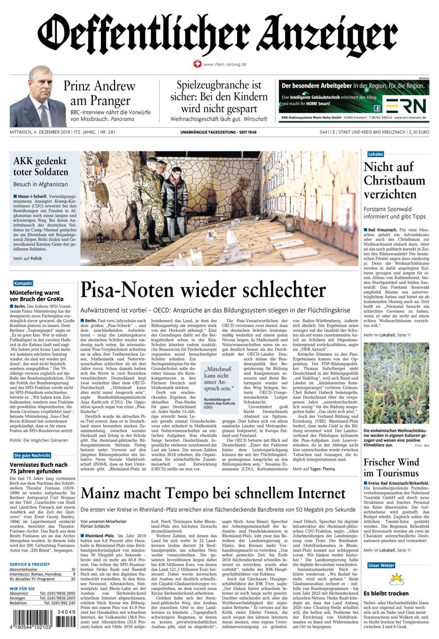 Oeffentlicher Anzeiger Bad Kreuznach vom Mittwoch, 04.12.2019