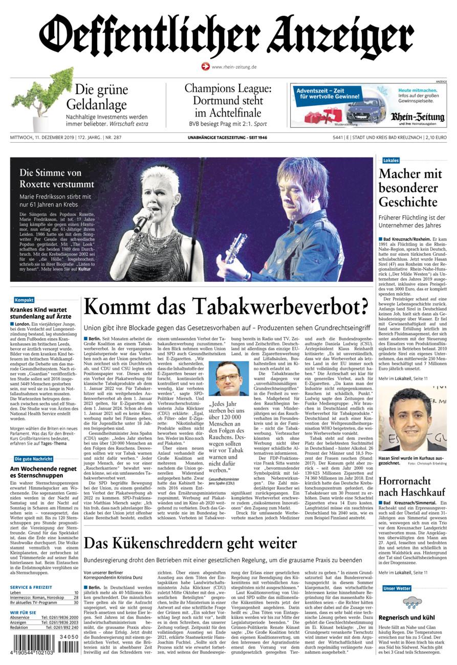 Oeffentlicher Anzeiger Bad Kreuznach vom Mittwoch, 11.12.2019