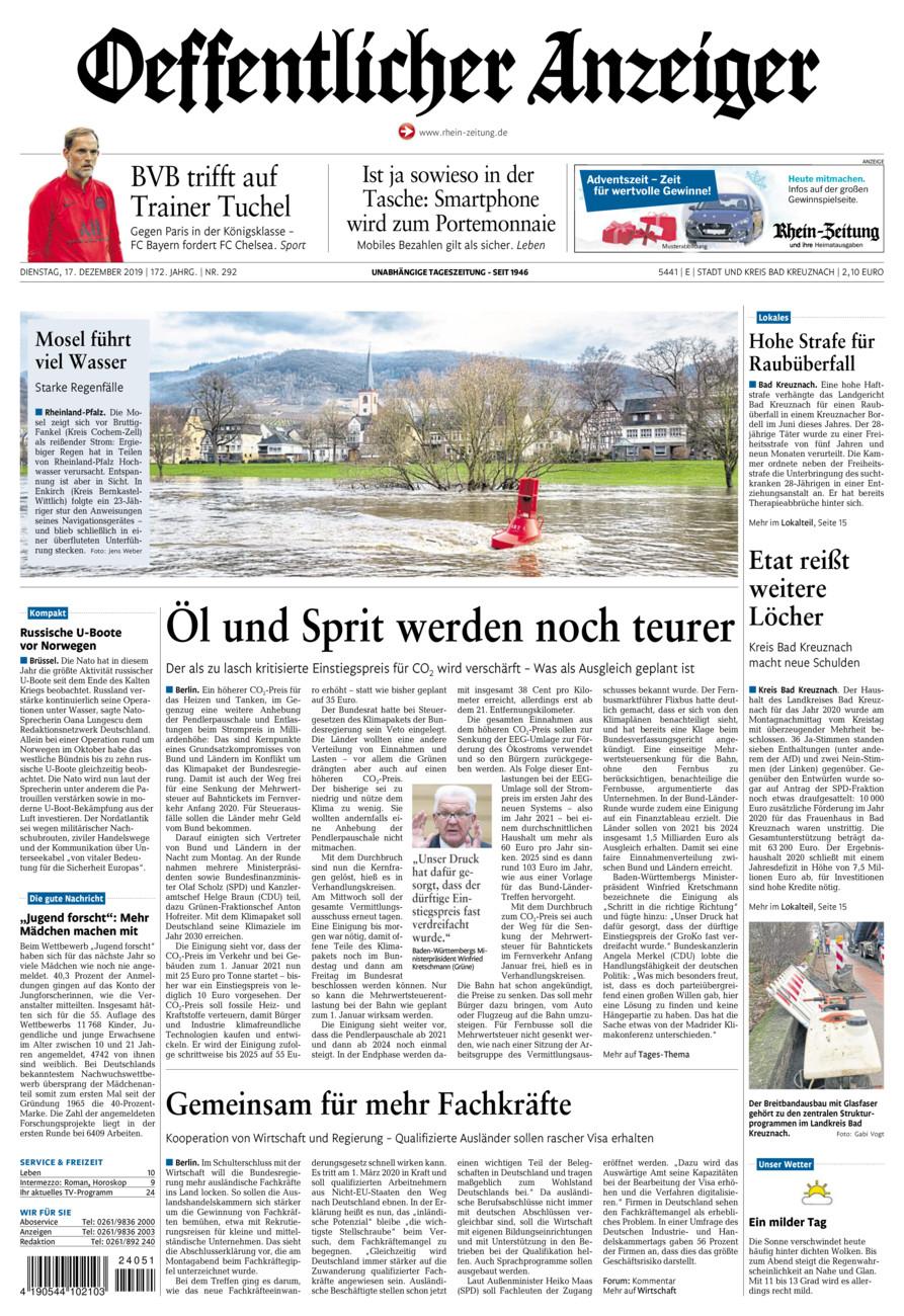 Oeffentlicher Anzeiger Bad Kreuznach vom Dienstag, 17.12.2019