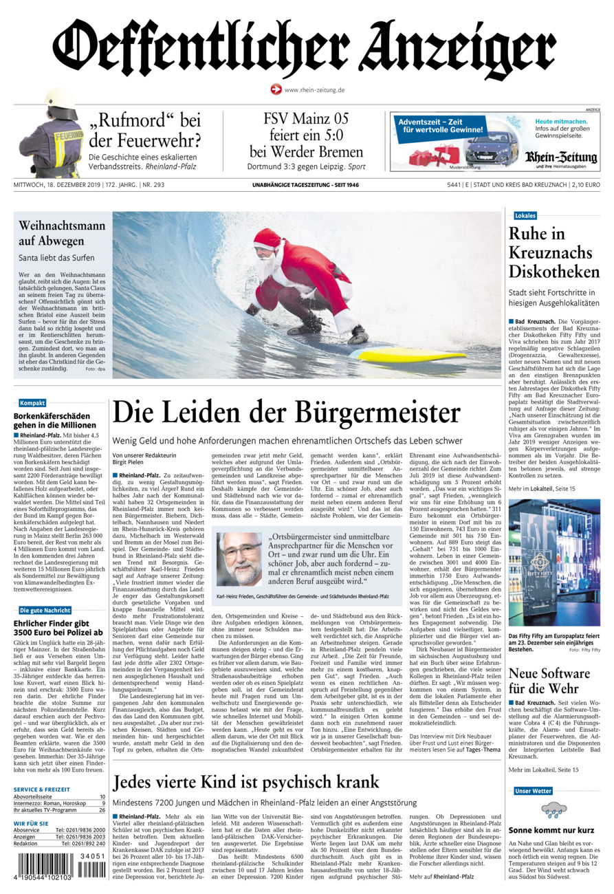 Oeffentlicher Anzeiger Bad Kreuznach vom Mittwoch, 18.12.2019