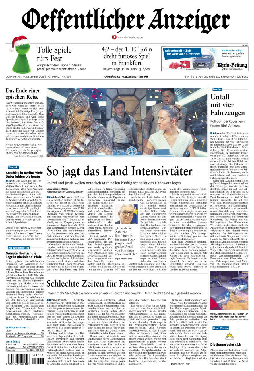 Oeffentlicher Anzeiger Bad Kreuznach vom Donnerstag, 19.12.2019
