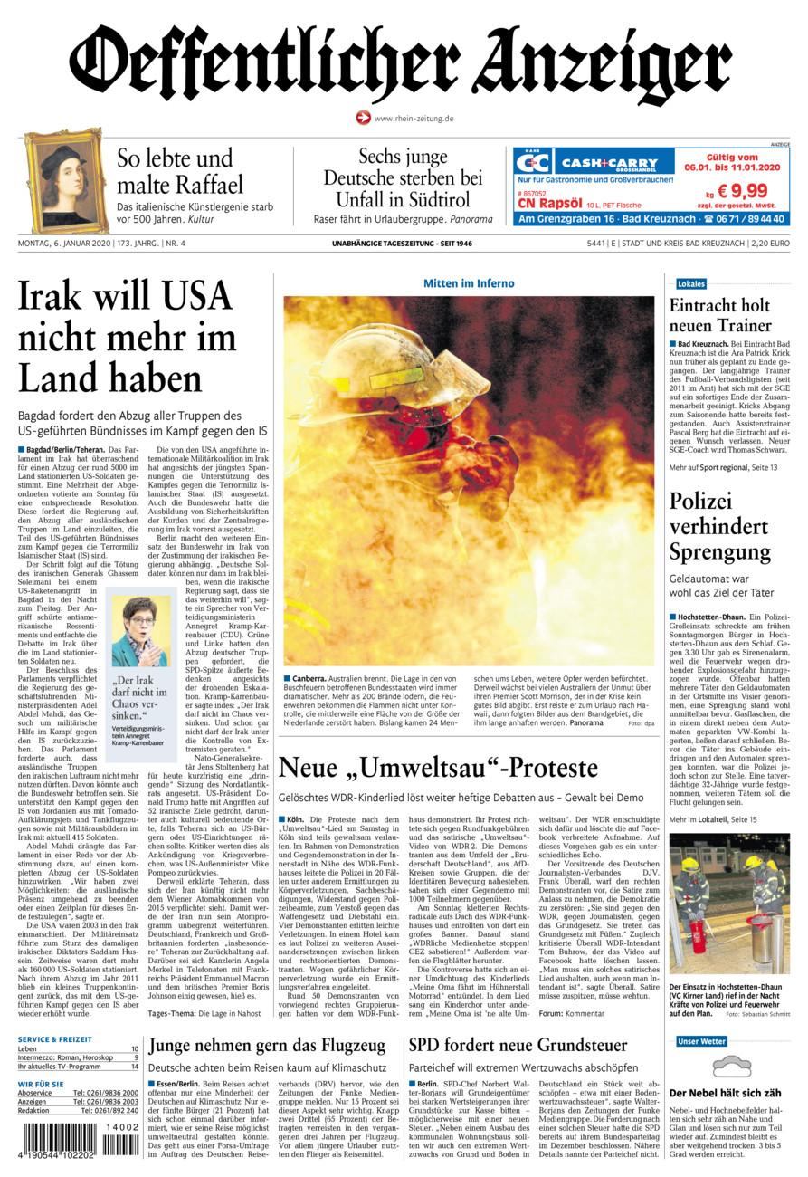 Oeffentlicher Anzeiger Bad Kreuznach vom Montag, 06.01.2020