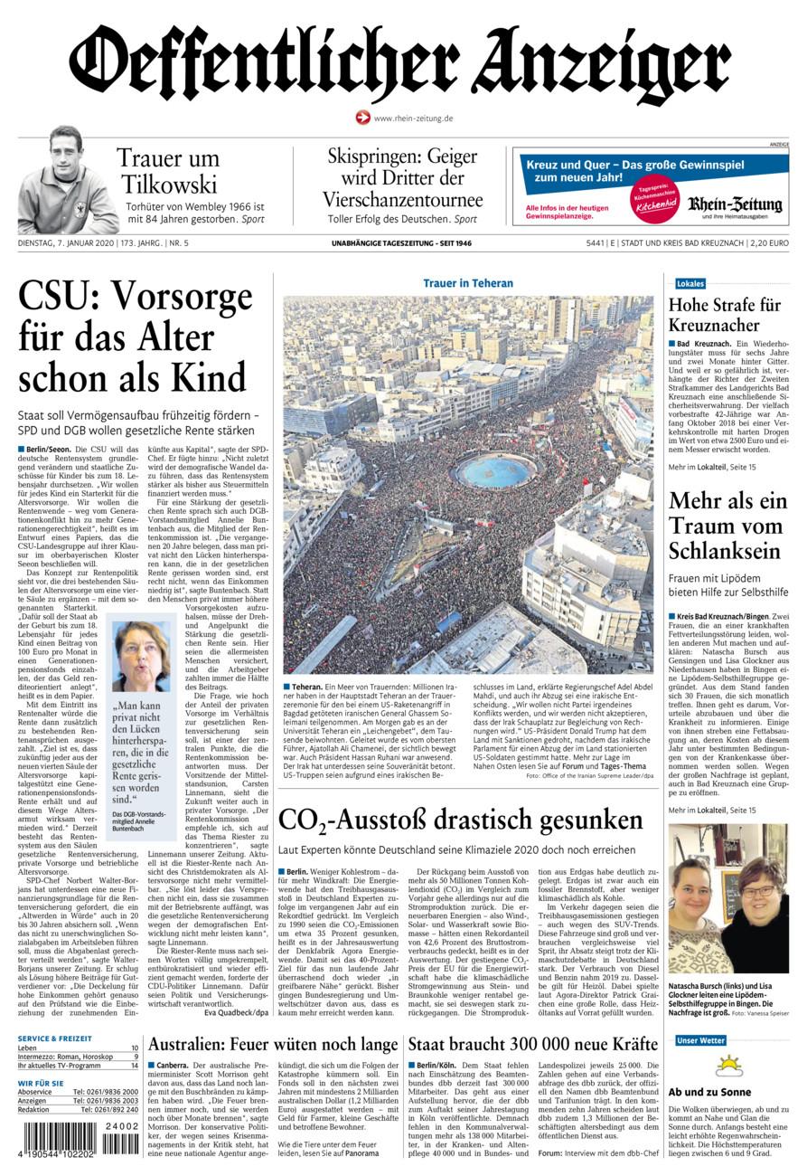 Oeffentlicher Anzeiger Bad Kreuznach vom Dienstag, 07.01.2020