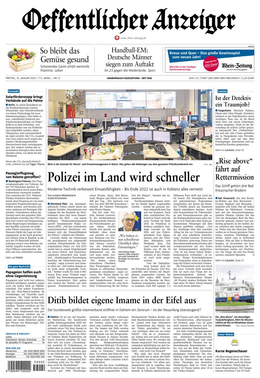 Oeffentlicher Anzeiger Bad Kreuznach vom Freitag, 10.01.2020