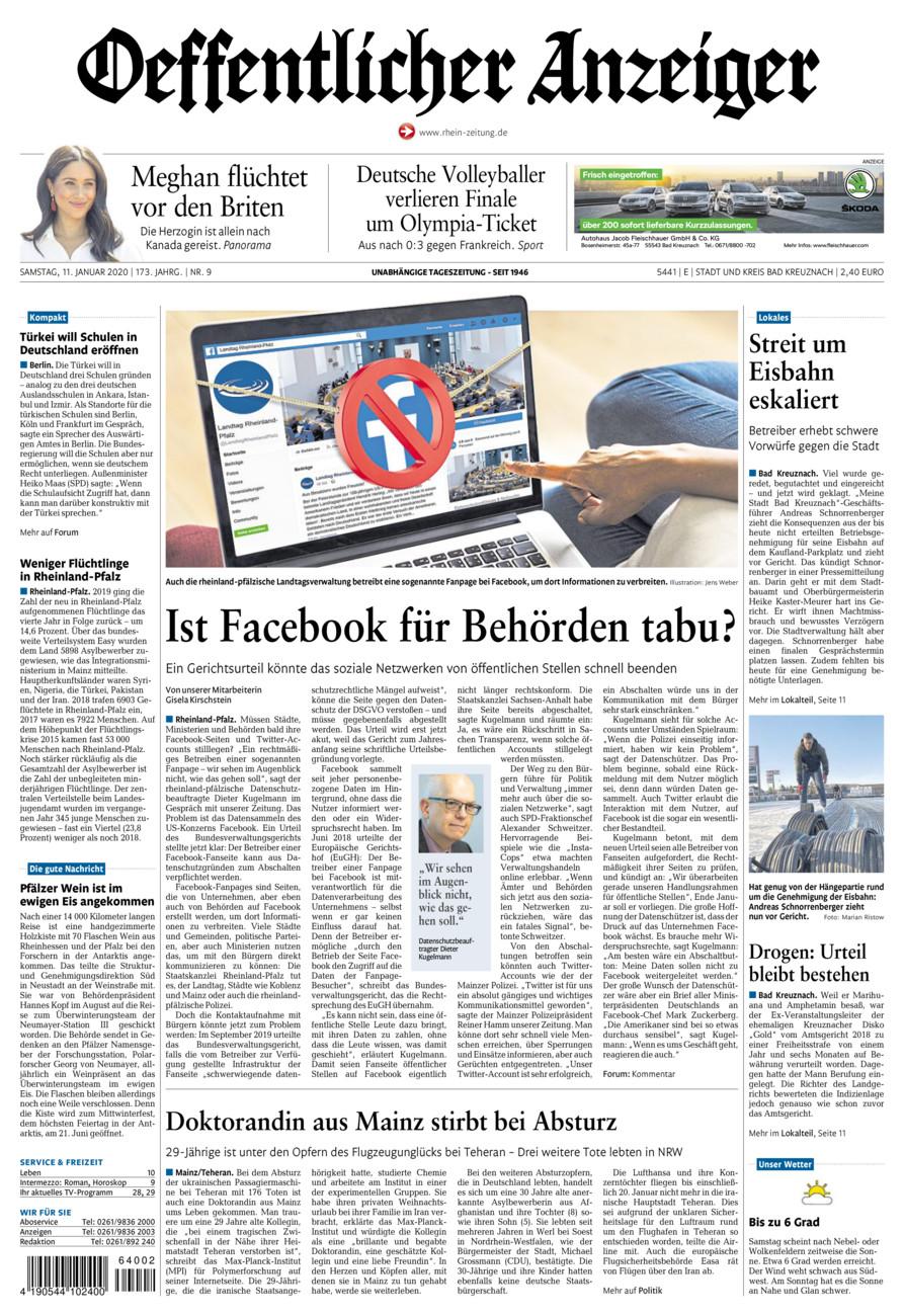 Oeffentlicher Anzeiger Bad Kreuznach vom Samstag, 11.01.2020