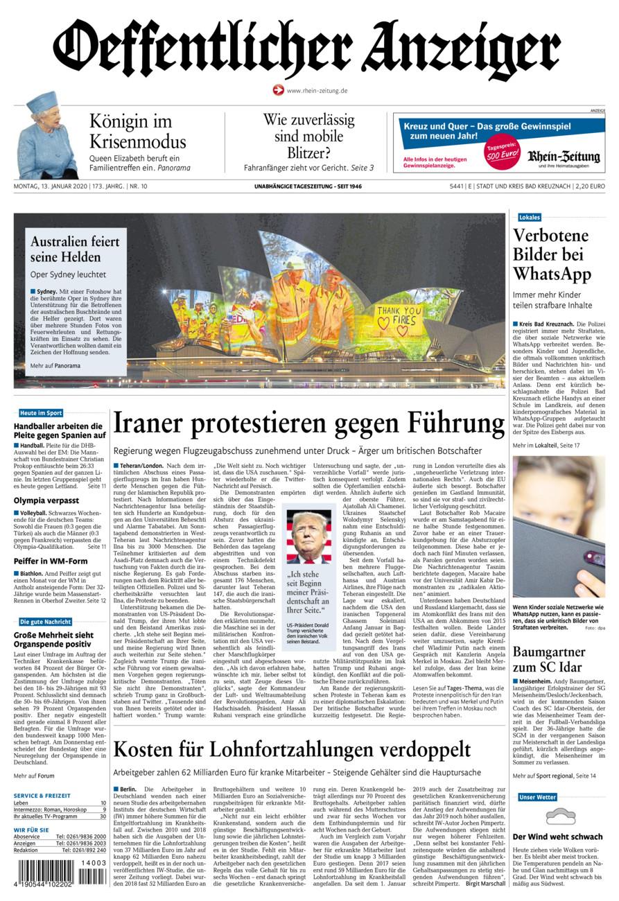 Oeffentlicher Anzeiger Bad Kreuznach vom Montag, 13.01.2020