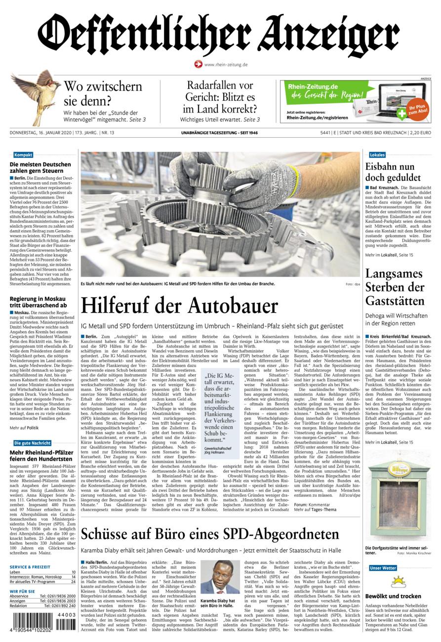 Oeffentlicher Anzeiger Bad Kreuznach vom Donnerstag, 16.01.2020