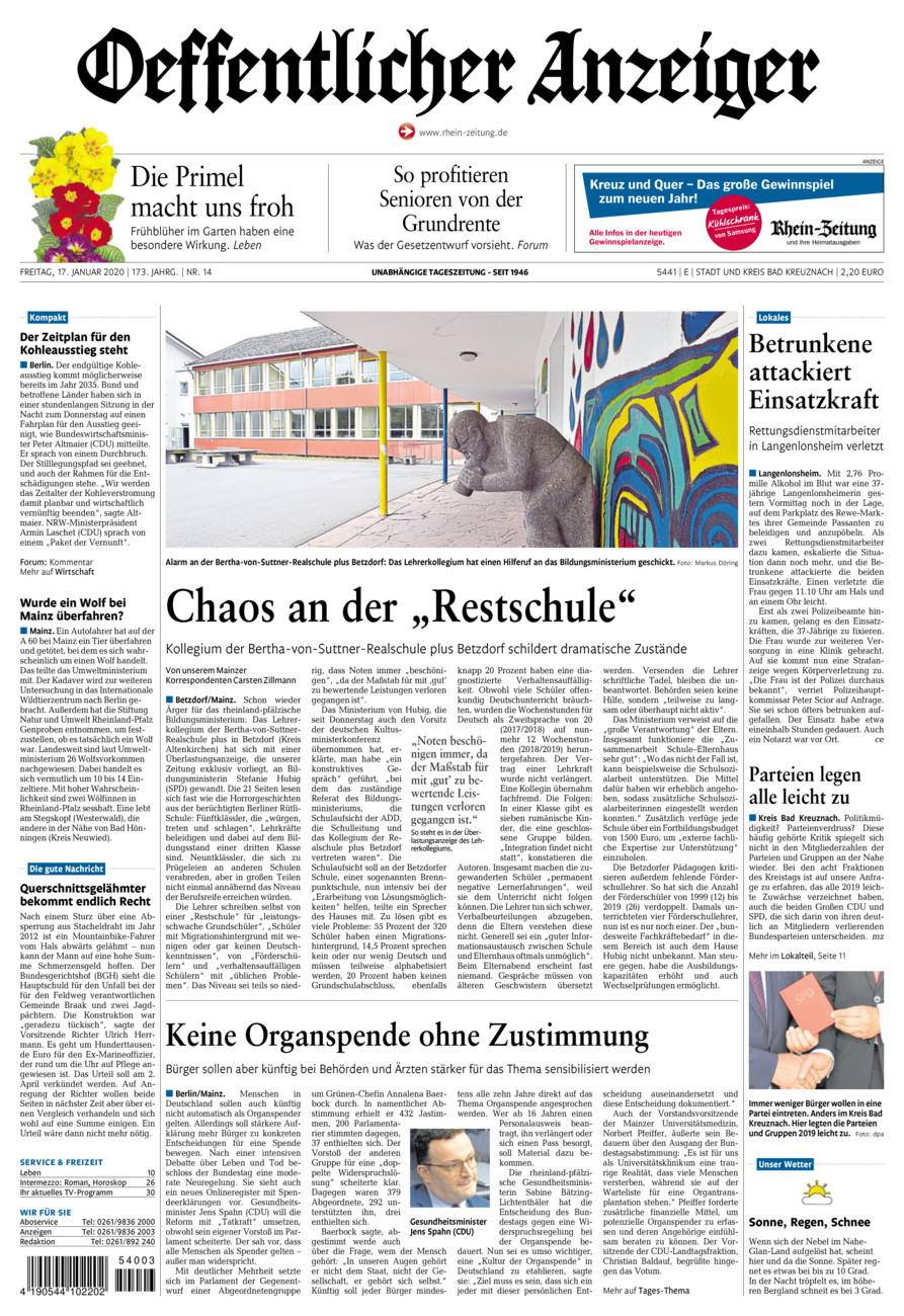 Oeffentlicher Anzeiger Bad Kreuznach vom Freitag, 17.01.2020