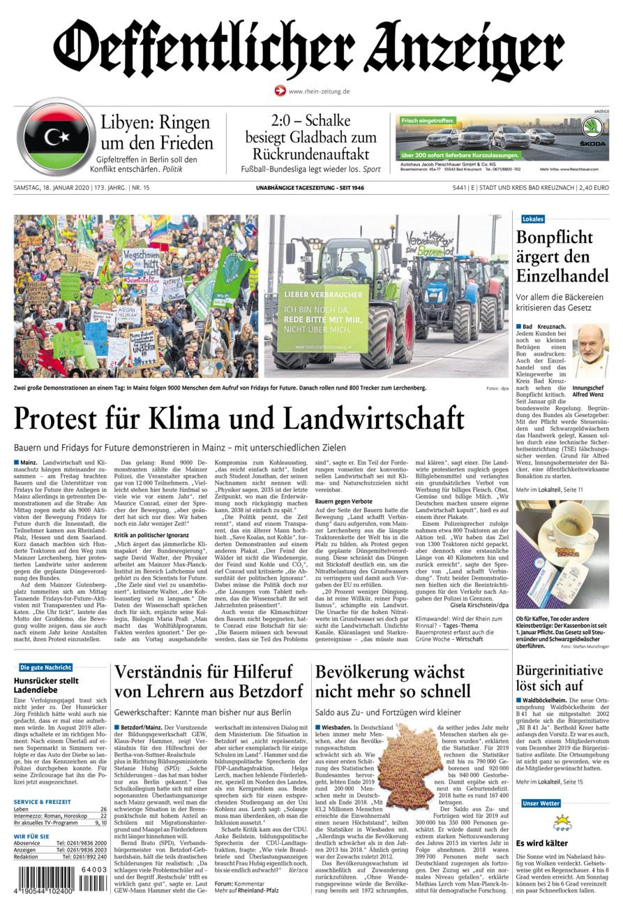 Oeffentlicher Anzeiger Bad Kreuznach vom Samstag, 18.01.2020