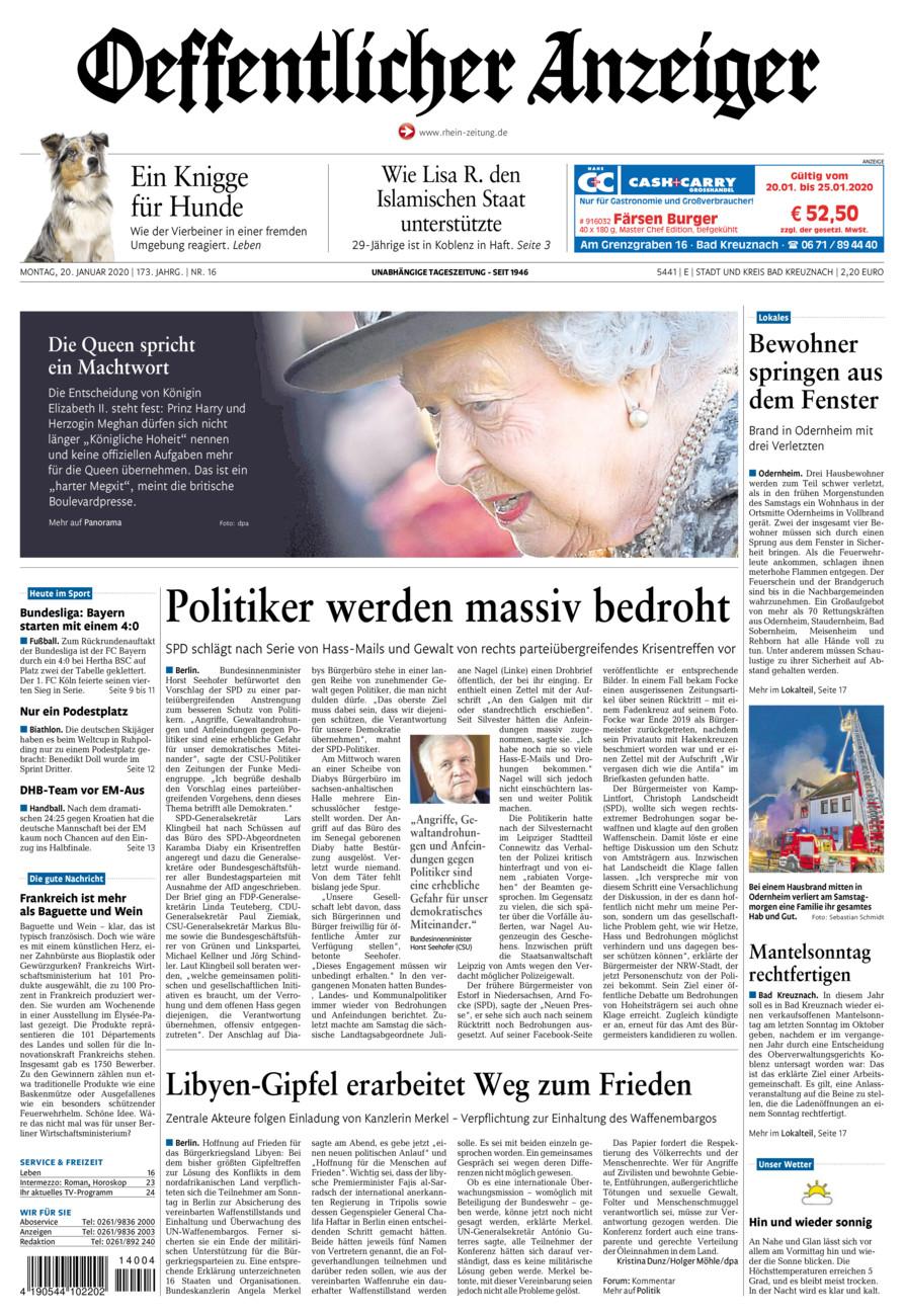 Oeffentlicher Anzeiger Bad Kreuznach vom Montag, 20.01.2020