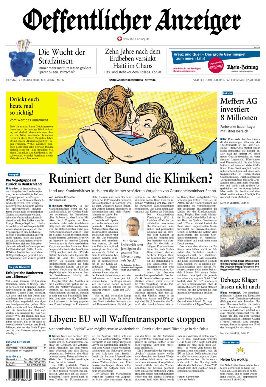 Oeffentlicher Anzeiger Bad Kreuznach vom Dienstag, 21.01.2020