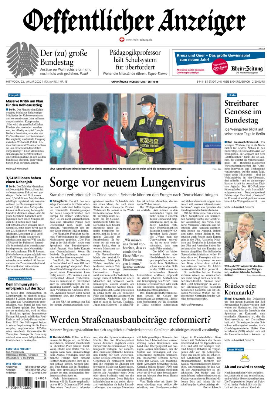 Oeffentlicher Anzeiger Bad Kreuznach vom Mittwoch, 22.01.2020