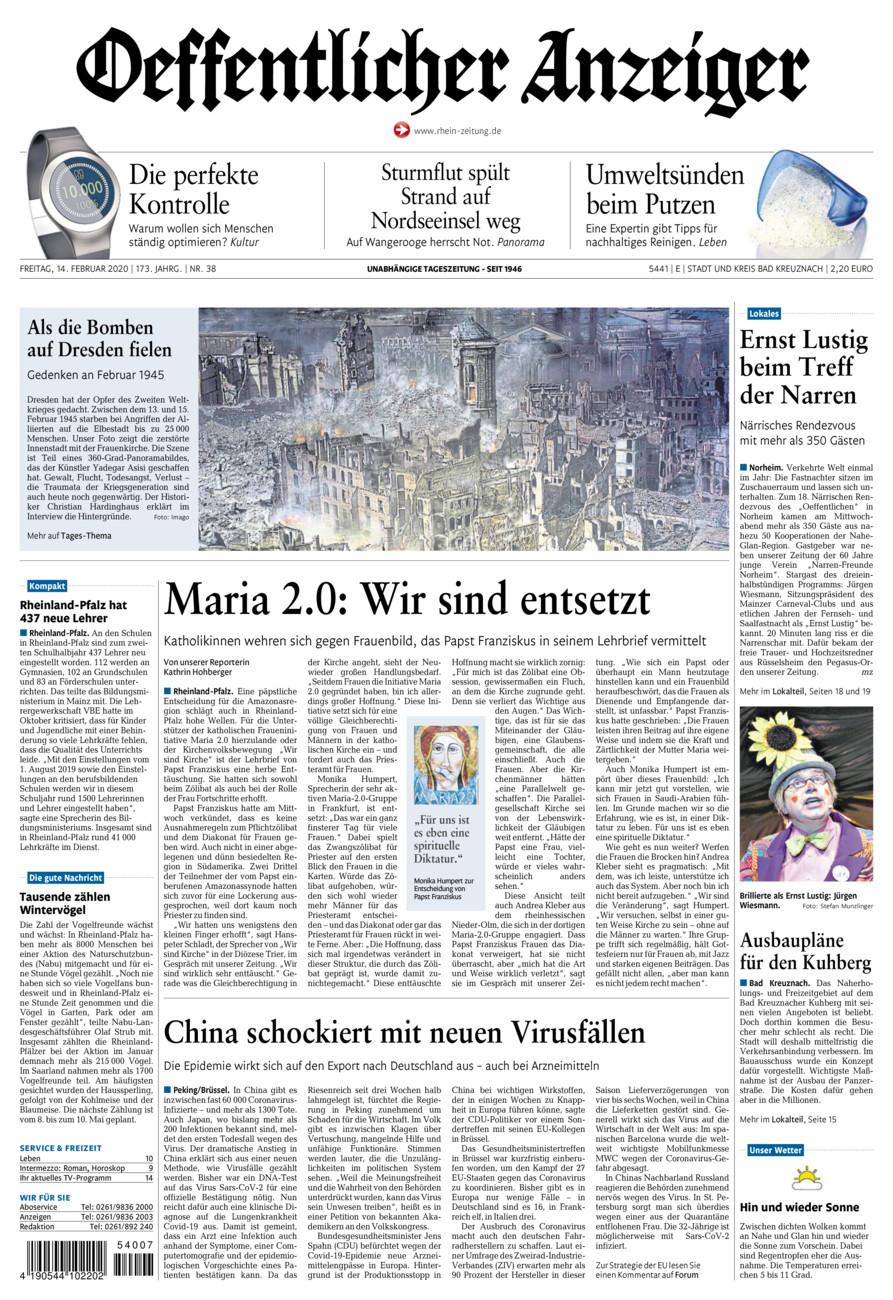 Oeffentlicher Anzeiger Bad Kreuznach vom Freitag, 14.02.2020
