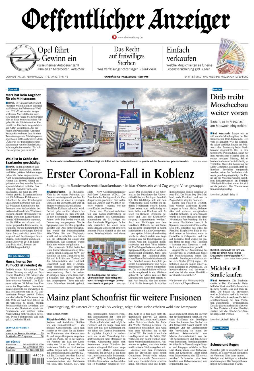 Oeffentlicher Anzeiger Bad Kreuznach vom Donnerstag, 27.02.2020